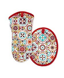 Worn Tiles Oven Mitt & Pot Holder, Set of 2