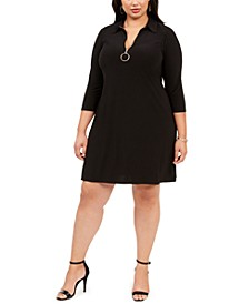 Plus Size O-Ring Zipper Dress