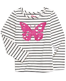 Little Girls Striped Butterfly T-Shirt, Created For Macy's