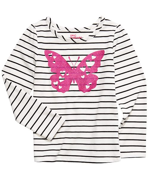 Epic Threads Toddler Girls Striped Butterfly T-Shirt, Created For Macy's