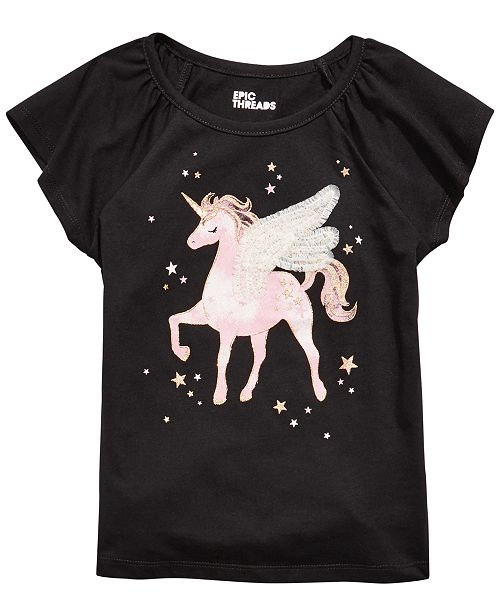 Epic Threads Little Girls Winged Unicorn T-Shirt, Created For Macy's