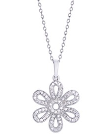 Diamond 3/8 ct. t.w. Flower Pendant Necklace in Sterling Silver