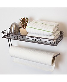 HDS Trading Scroll Collection Wall Mounted Paper Towel Holder with Basket