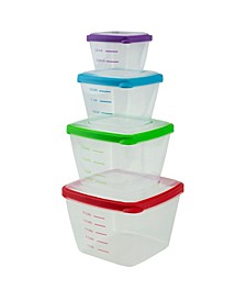 HDS Trading Nesting Food Storage Container Set with Multi-Color Snap-On Lids - 8 Piece