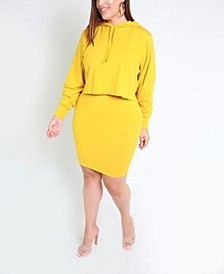 Two Pieced Set- Oversized Hooded Crop Top and Mini Bodycon Skirt By The Workshop At Macy's
