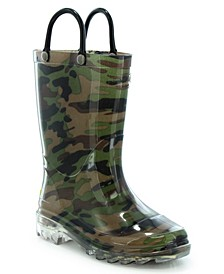 Toddler, Little Boy's and Big Boy's Camo Lighted Rain Boots