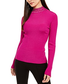 INC Embellished Ribbed-Knit Turtleneck, Created for Macy's