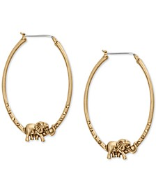 Gold-Tone Elephant Medium Hoop Earrings, 1-7/8""