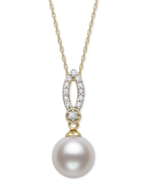 """Cultured Freshwater Pearl (9mm) & Diamond (1/8 ct. t.w.) 18"""" Pendant Necklace in 14k Gold"""