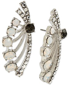 Silver-Tone Pavé & Stone Spray Drop Earrings