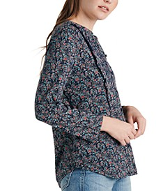 Printed Cotton Eyelet Top