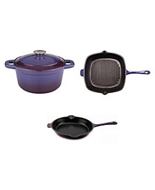 Neo Cast Iron 3-Pc Set: Fry Pan, Grill Pan and Dutch Oven