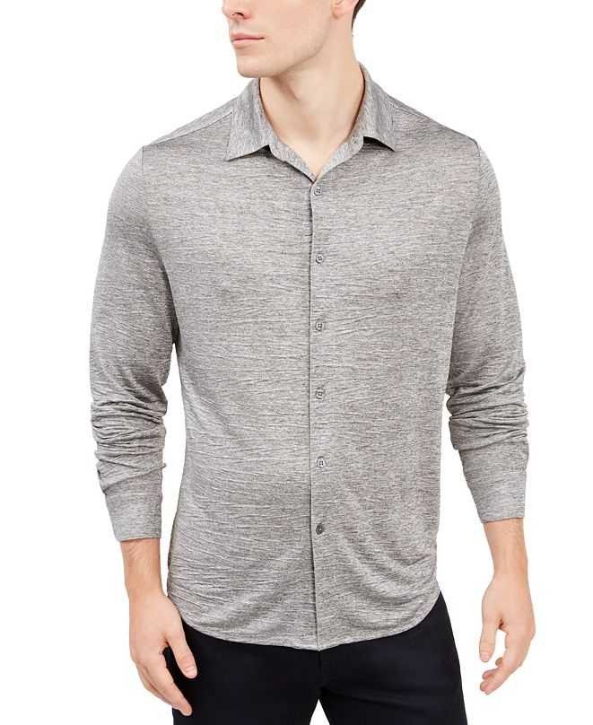 Alfani Men's Crinkle Textured Knit Shirt, Created for Macy's