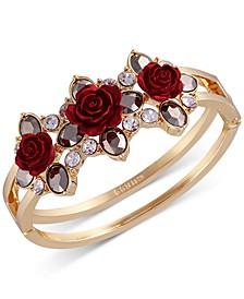 Two-Tone Crystal & Rose Double-Row Bangle Bracelet