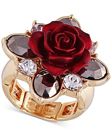 Two-Tone Crystal & Rose Stretch Ring