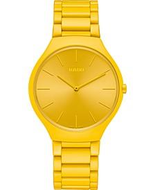 Unisex Swiss True Thinline Les Couleurs Le Corbusier Yellow High-Tech Ceramic Bracelet Watch 39mm