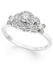 Diamond Floral Halo Engagement Ring (1/3 ct. t.w.) in 14k White Gold