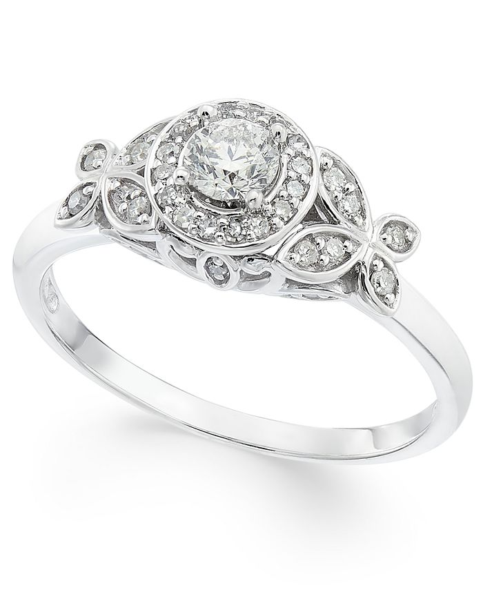 Macy's - Diamond Floral Halo Engagement Ring (1/3 ct. t.w.) in 14k White Gold
