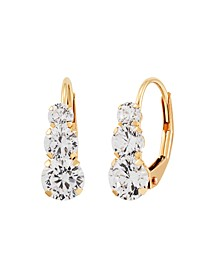 Swarovski Crystal(2-3/4 ct. t.w.)Three Stone Lever Back Earrings in 14k Yellow Gold