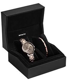 Women's Chronograph Nova Orion Two-Tone Steel Bracelet Watch Set 38mm