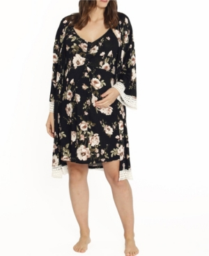 Blooming Women 2 Piece Robe and Nighty Dress Set