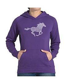 Women's Word Art Hooded Sweatshirt -Horse Breeds