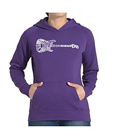 Women's Word Art Hooded Sweatshirt -Rock Guitar