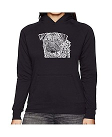 Women's Word Art Hooded Sweatshirt - Pug Face