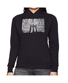 Women's Word Art Hooded Sweatshirt - Brooklyn Bridge