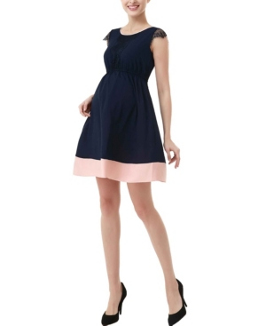 Kimi + Kai Nell Maternity Lace Trim Colorblock Dress
