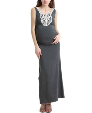Kimi + Kai Bethany Maternity Lace Trim Maxi Dress