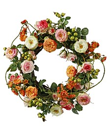 Permanent Botanicals Garden Rose Wreath