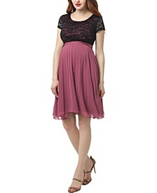 Tanya Maternity Lace Accent Babydoll Dress
