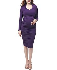 Viola Maternity Shawl Collar Midi Dress