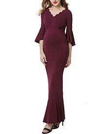 Maisie Maternity Scalloped V-Neck Mermaid Maxi Dress
