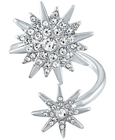 Silver-Tone Crystal Starburst Wrap Ring