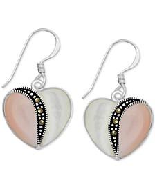 "Genuine Swarovski Marcasite, Pink Shell & Mother of Pearl 18"" Heart Drop Earrings in Fine Silver-Plate"