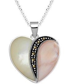 "Genuine Swarovski Marcasite, Pink Shell & Mother of Pearl 18"" Heart Pendant Necklace in Fine Silver-Plate"