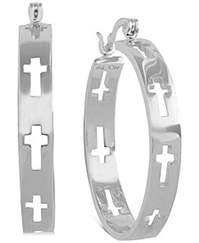 Medium Cut-Out Cross Hoop Earrings in Fine Silver-Plate, 1.48""