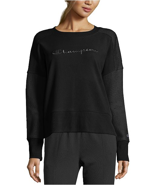 Champion Women's Heritage Cotton Mixed-Texture Sweatshirt