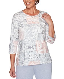 Petite All About Ease Beaded Floral Print Top