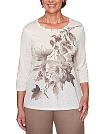 Petite First Frost Asymmetrical-Floral Knit Top