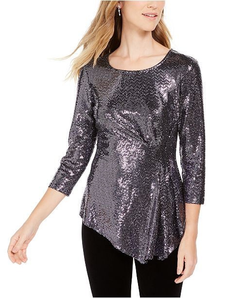 Connected Petite Metallic Asymmetrical Top