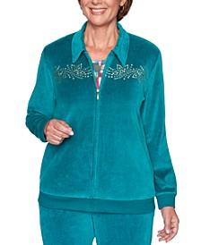 Petite Bright Idea Beaded Velour Jacket