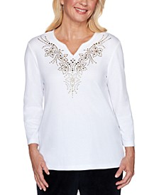 Petite Bright Idea Embellished Yoke Top