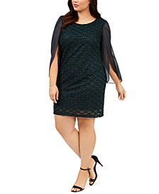 Plus Size Jacquard Tulip-Sleeve Dress