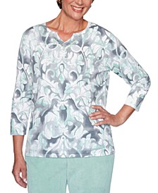 Petite Lake Geneva Cotton Medallion Scroll Sweater