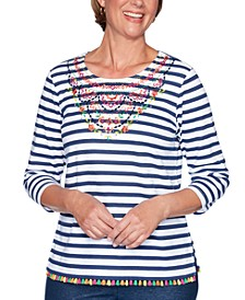 Petite Road Trip Striped Embroidered Embellished Top