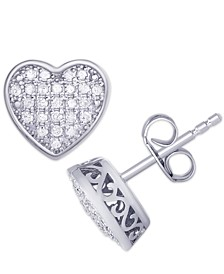 Diamond 1/4 ct. t.w. Pave Heart Stud Earrings in Sterling Silver