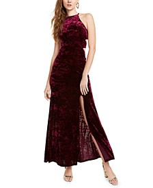 Juniors' Cutout Crushed Velvet Gown